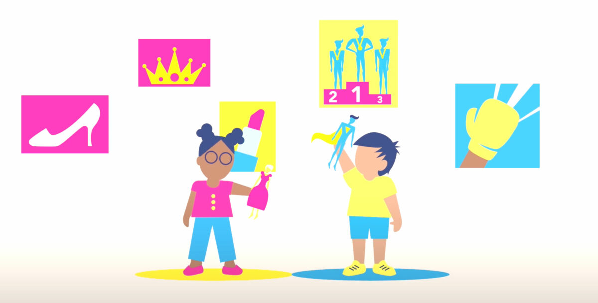 Two children standing in front of traditionally gendered pictures; the girl is playing with a doll in a dress and standing in front of a picture of lipstick, another of a crown, and a third of a high heel shoe; the boy is plyaing with a super hero doll and standing in front of an image of a boxing glove plus another of masculine athletes on a podium